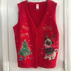 Sweaters - Pug Christmas vest sweater ugly cute XL